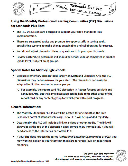 Using the Standards Plus PLCs