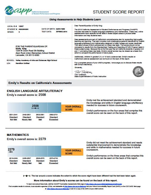 Sample CAASPP Score Report