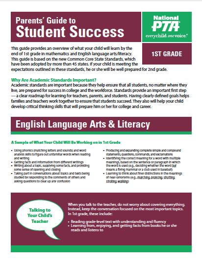 1st Grade – Parents' Guide to Student Success (PTA)