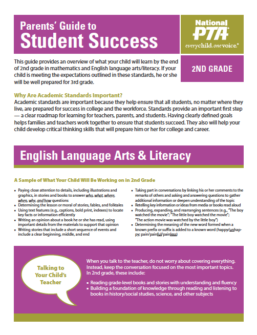 2nd Grade – Parents' Guide to Student Success (PTA)