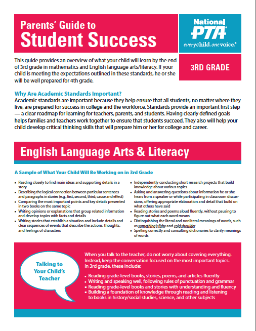 3rd Grade – Parents' Guide to Student Success (PTA)