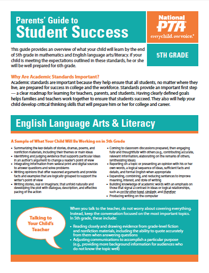 5th Grade – Parents' Guide to Student Success (PTA)