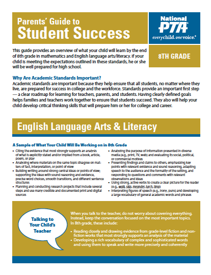 8th Grade – Parents' Guide to Student Success (PTA)