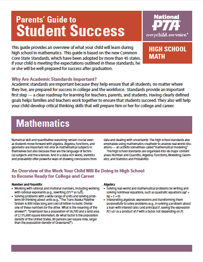 High School Math – Parents' Guide to Student Success (PTA)