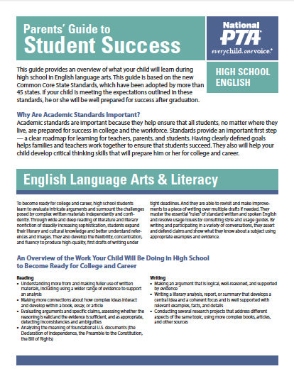 High School English – Parents' Guide to Student Success (PTA)