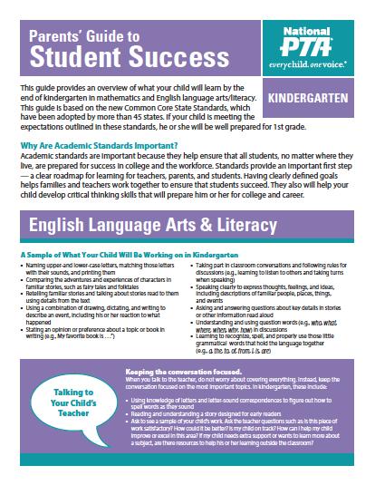 Kindergarten – Parents' Guide to Student Success (PTA)