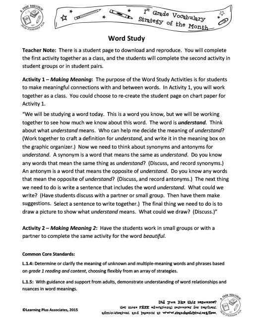 1st Grade – November Vocabulary Strategies
