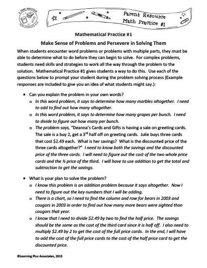 Math Practice 1 for Parents